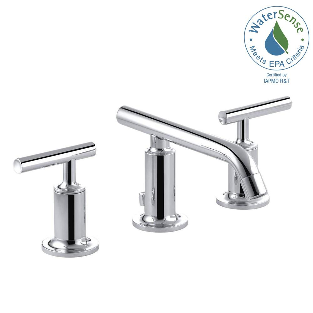 Purist 8 in. Widespread 2-Handle Low-Arc Bathroom Faucet in Polished Chrome