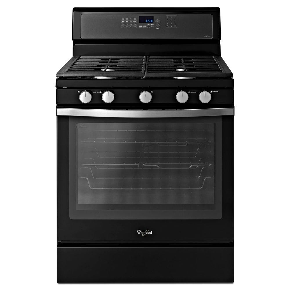 Whirlpool 5.8 cu. ft. Gas Range with Self-Cleaning Convection Oven in Black Ice