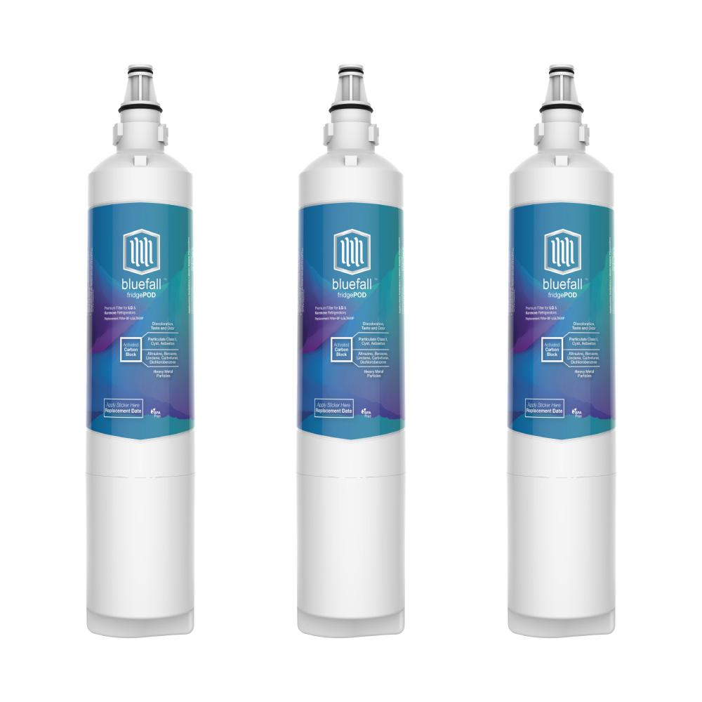 Bluefall 3 Compatible Refrigerator Water Filters Fits LG LT600P and Kenmore 46-9990 (Value Pack)
