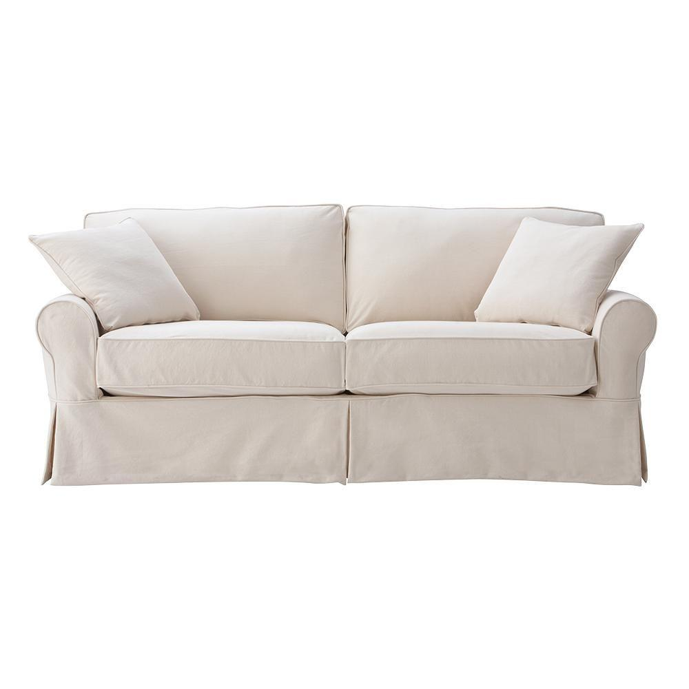 Home Decorators Collection Mayfair 88 In. Classic Natural Twill Fabric  Standard Sofa