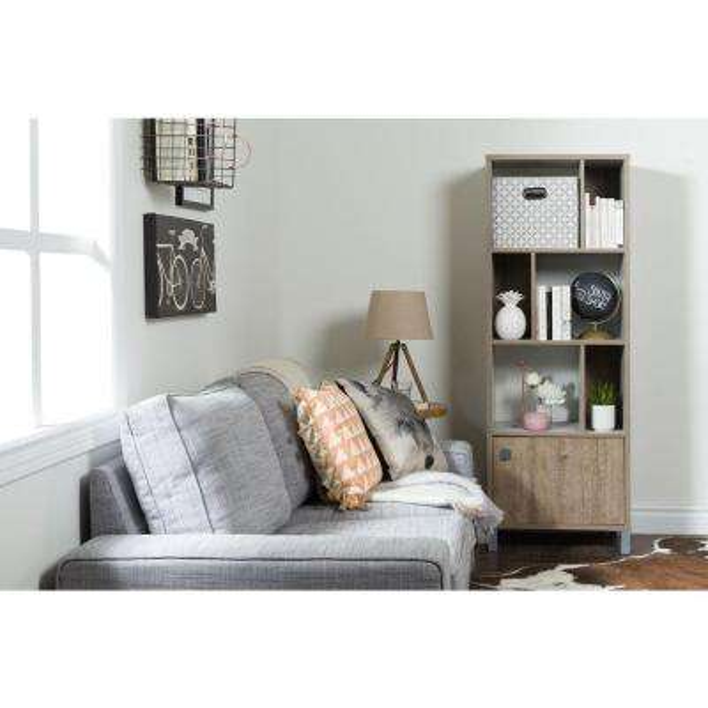 Expoz Weathered Oak and Soft Gray Storage Open Bookcase
