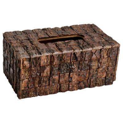 Wood Bark Tissue Box Cover in Brown