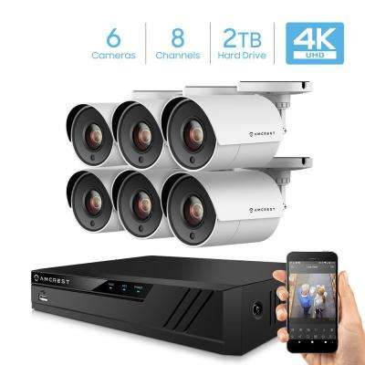 4K 8-Channel 2TB DVR Surveillance System with 6 x 8MP Wired Bullet Cameras, White