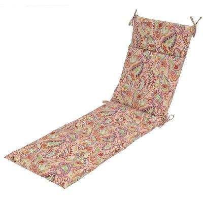 Chili Paisley Outdoor Chaise Lounge Cushion  sc 1 st  Home Depot : chaise lounge cushions home depot - Sectionals, Sofas & Couches