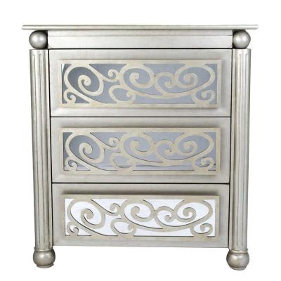 Shelly Antique Silver with Gold Wood Cabinet with a Drawer