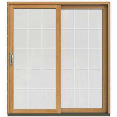 72 in. x 80 in. W-2500 Contemporary Desert Sand Clad Wood Right-Hand 15 Lite Sliding Patio Door w/Stained Interior