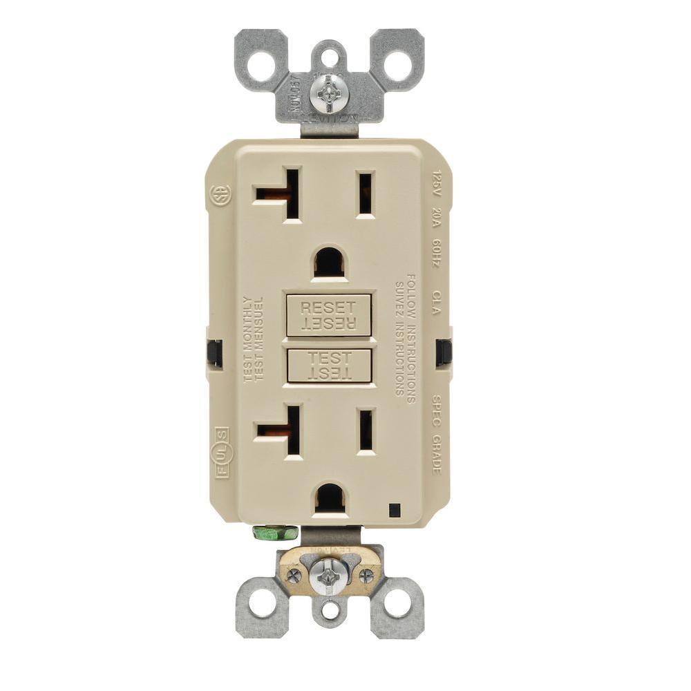 20 Amp Self-Test SmartlockPro Slim Duplex GFCI Outlet, Ivory