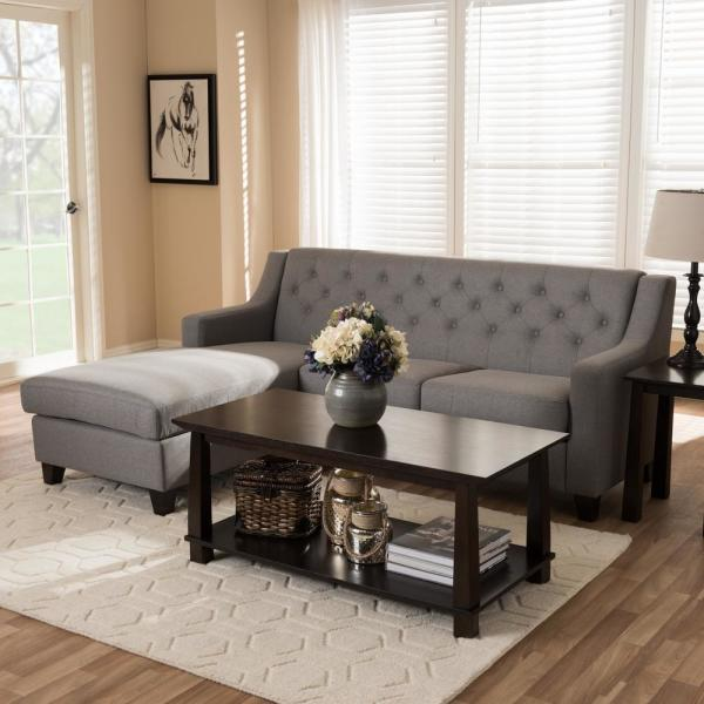 Baxton Studio Arcadia 2-Piece Contemporary Gray Fabric Upholstered Left Facing