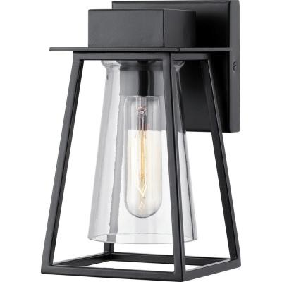 Raineville 1-Light 9 in. Matte Black Outdoor Wall Lantern with Clear Glass