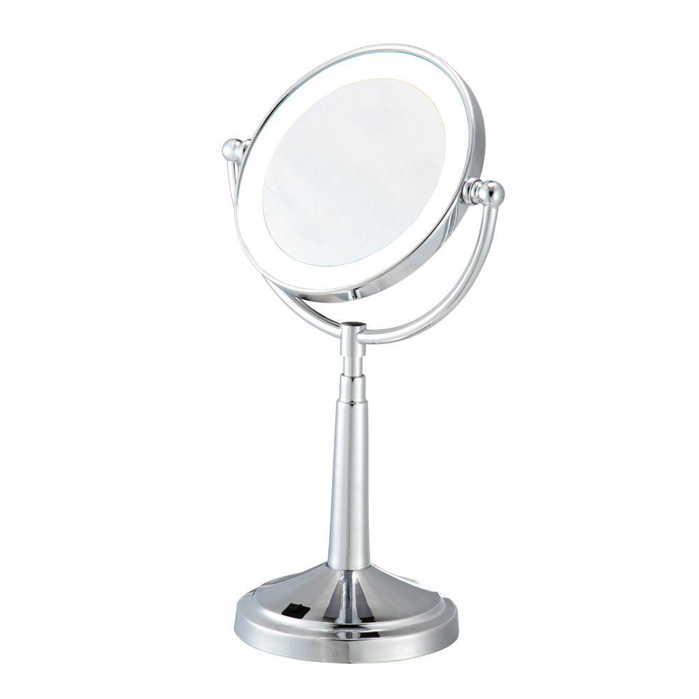 Hopeful 6.5 in. x 15 in. LED Lighted Cosmetic Bi-View Makeup Mirror in Chrome