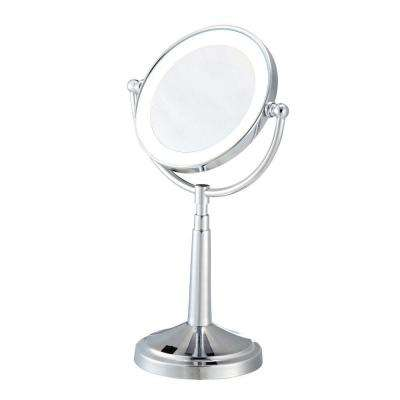 6.5 in. x 15 in. LED Lighted Cosmetic Bi-View Mirror in Chrome