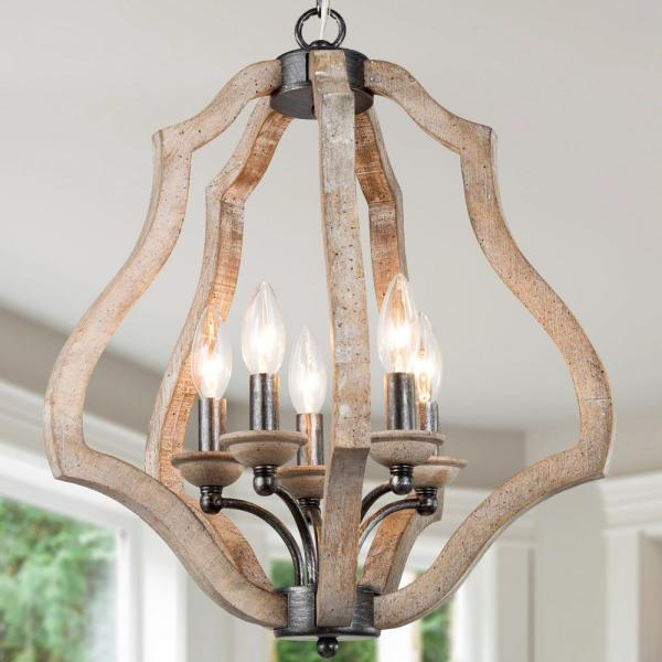 5-Light Modern Farmhouse Hand-Crafted Wood Cage Island Chandelier Durable Adjustable Rustic-Industrial Pendant Lighting