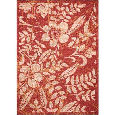 61d359c12af Red - Floral - 4   Up - Nourison - Outdoor Rugs - Rugs - The Home Depot