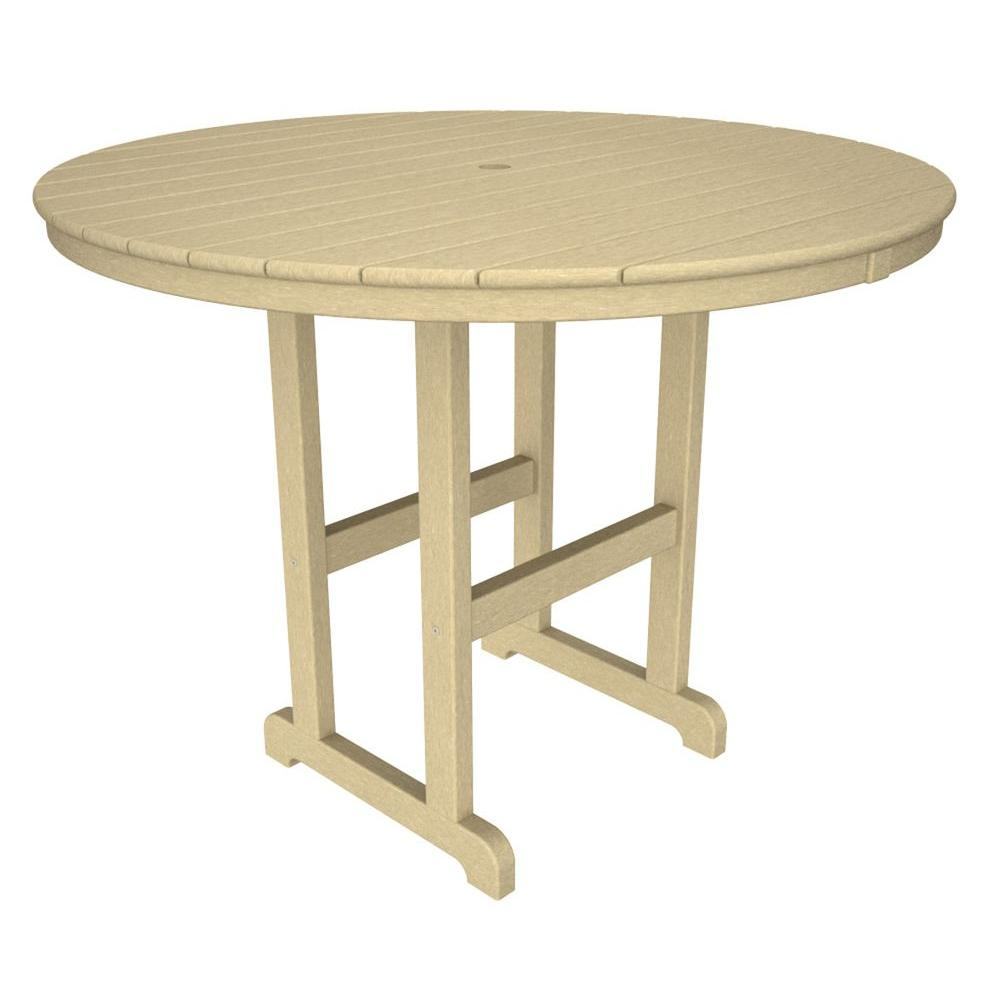 La Casa Cafe 48 in. Sand Round Plastic Outdoor Patio Counter