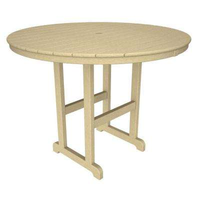 La Casa Cafe 48 in. Sand Round Plastic Outdoor Patio Counter Table