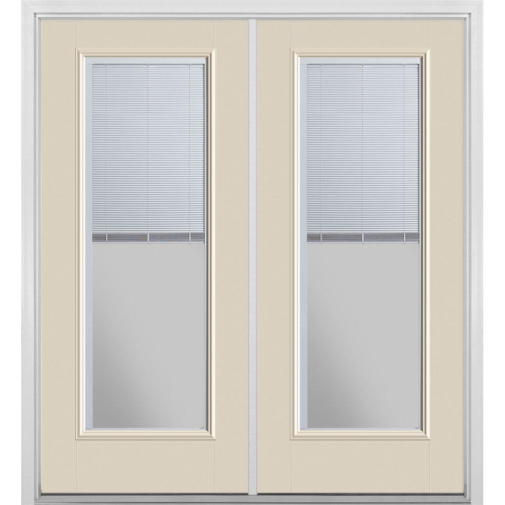 Masonite 72 in. x 80 in. Canyon View Fiberglass Prehung Right-Hand Inswing Mini Blind Patio Door with Brickmold, Vinyl Frame
