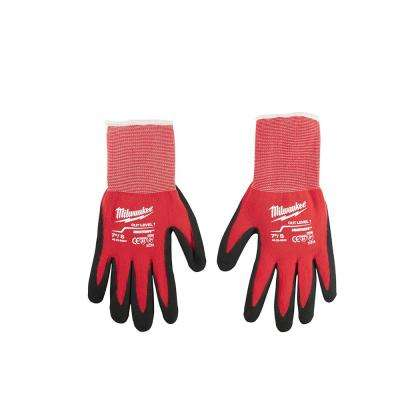 Medium Red Nitrile Dipped Work Gloves