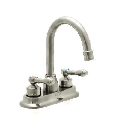 Anglo 4 in. Centerset 2-Handle High-Arc Bathroom Faucet in Brushed Nickel