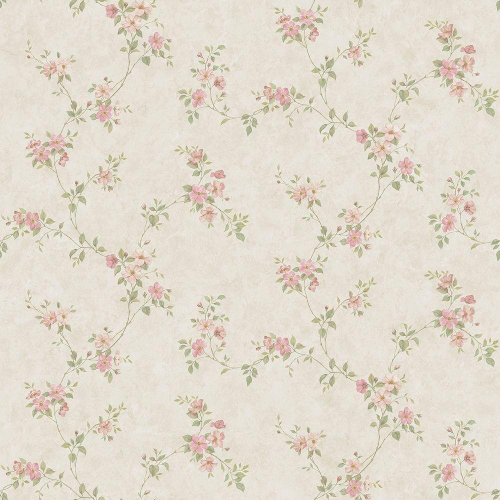 Rose Valley Pink Floral Scroll Wallpaper Sample