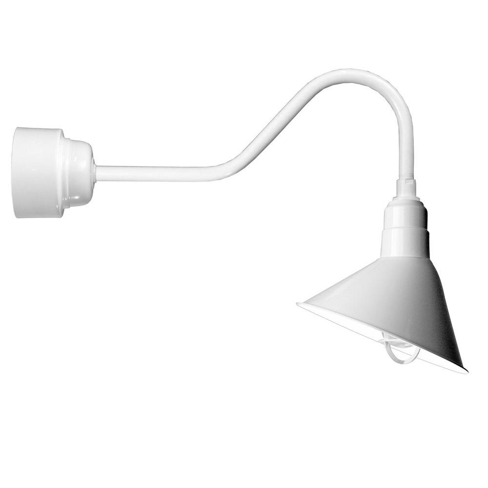 Illumine 1-Light Outdoor White Angled Arm Semi-Flush Mount with Wire Guard