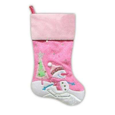20.5 in. Pink Embroidered and Embellished Ice Skating Snowman and Christmas Tree Stocking