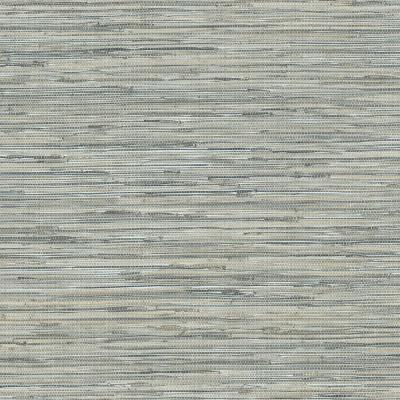 Blue and Taupe Faux Vinyl Grass Cloth Wallpaper