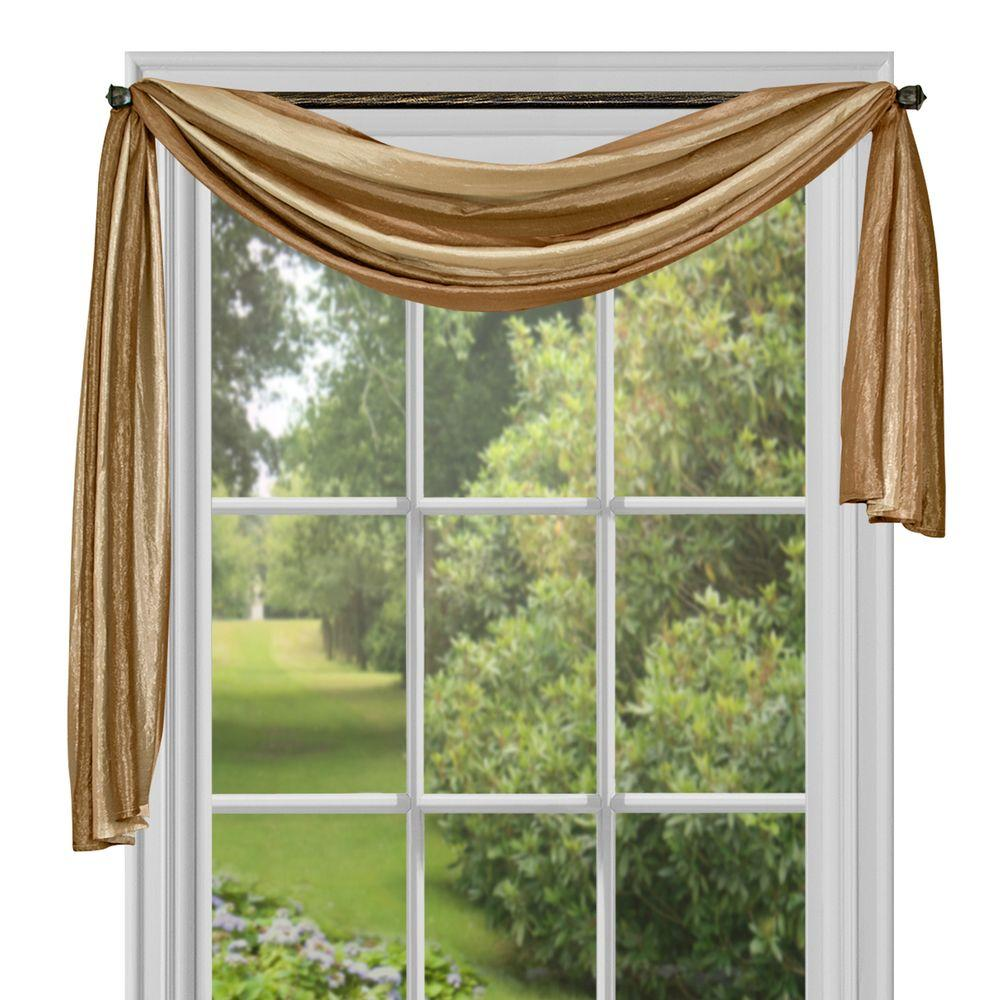 Achim Semi-Opaque Ombre Polyester 50 in. W x 144 in. L Scarf Curtain in Sandstone (Brown)
