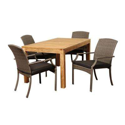 Shelton 5-Piece Wood Outdoor Dining Set with Grey Cushions