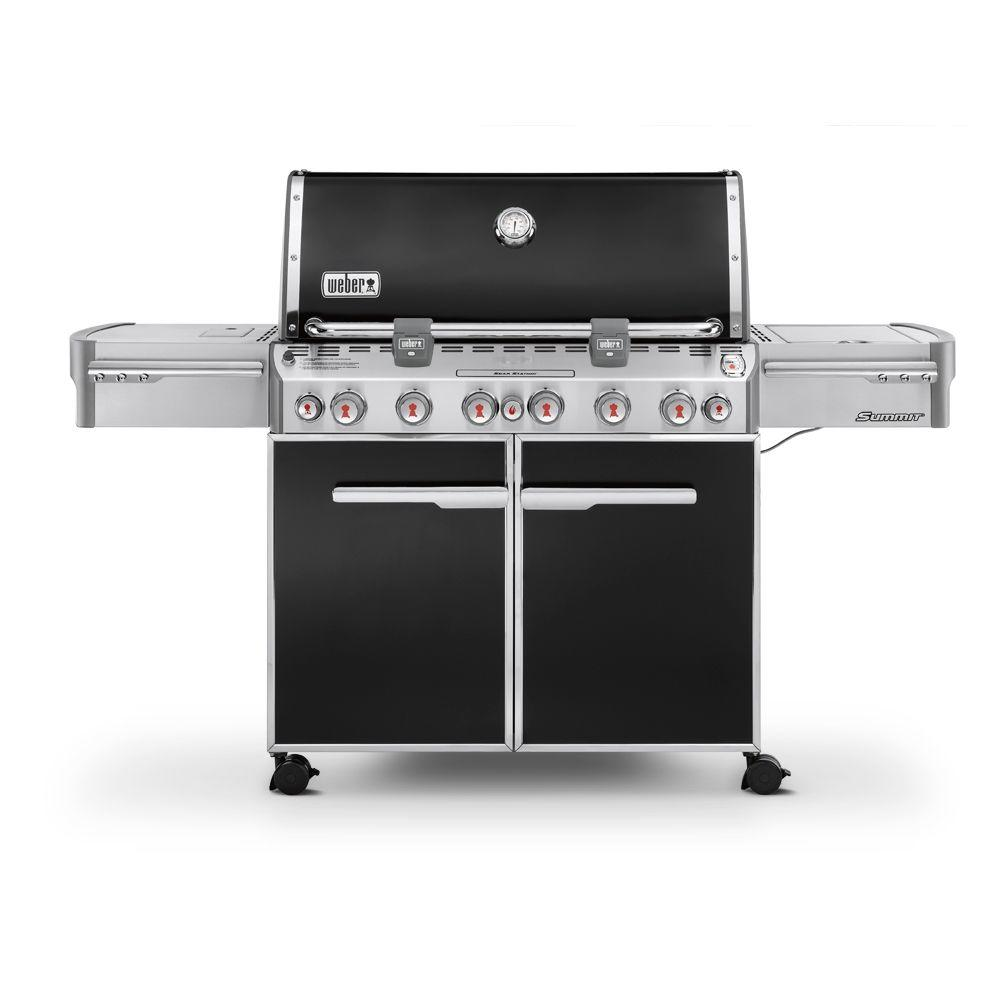 Summit E 670 6 Burner Propane Gas Grill In Black With Built In Thermometer And Rotisserie