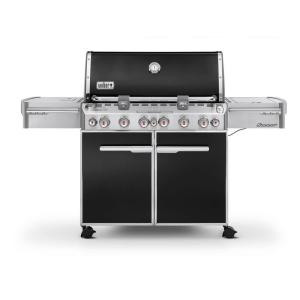 summit e670 6burner propane gas grill in black with builtin