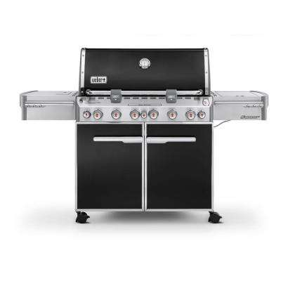 Summit E-670 6-Burner Propane Gas Grill in Black with Built-In Thermometer and Rotisserie