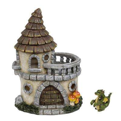 9 in. Tall Castle of Dreams Fairy House with Dapper Dragon Figurine
