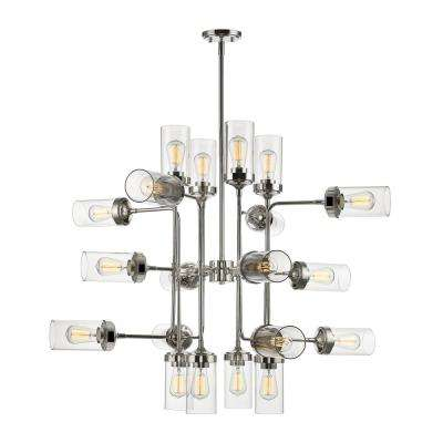 Lopia 20-Light Polished Nickel Pendant with Clear Glass Shade