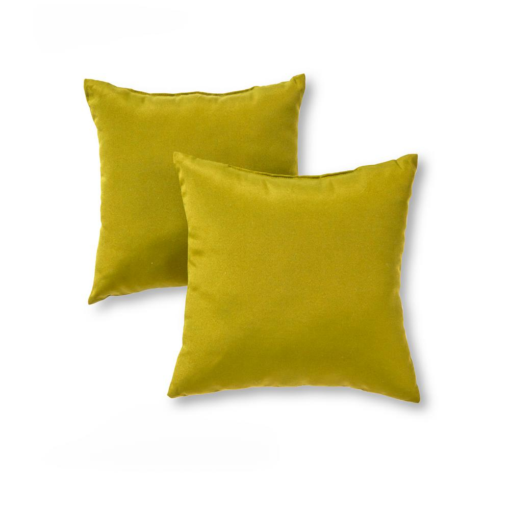 Greendale Home Fashions Solid Kiwi Green Square Outdoor Throw Pillow (2-Pack)