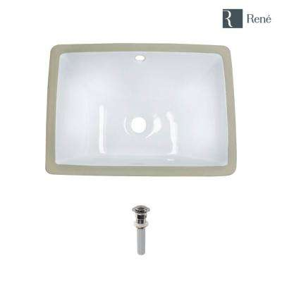 18.25 in. Undermount Bathroom Sink in White with Pop-Up Drain in Brushed Nickel