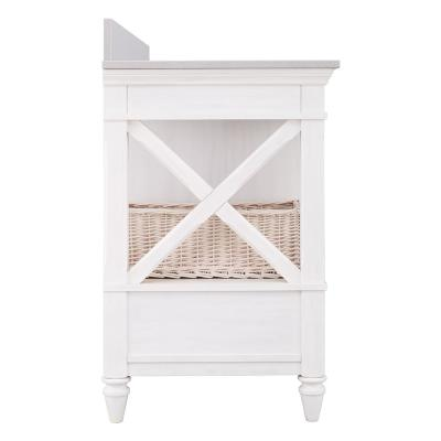 Ashview 49 in. W x 22 in. D Vanity Cabinet in White Wash with Engineered Stone Vanity Top in White with White Sink