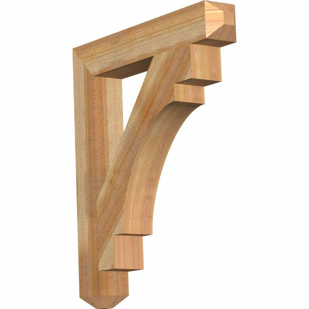 Ekena Millwork 4 in. x 30 in. x 26 in. Western Red Cedar Merced Craftsman Rough Sawn Bracket