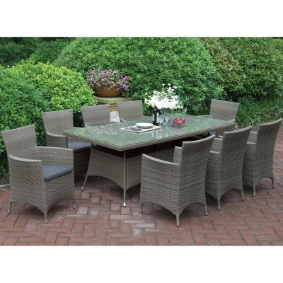 Naturno 9-Piece All-Weather Wicker Rectangular Outdoor Dining Set with Brown Cushion