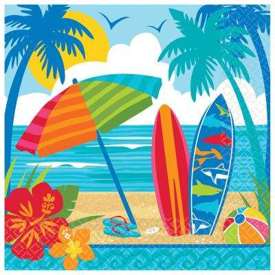 Summer 6.5 in. x 6.5 in. Multi-Color Sun and Surf Lunch Napkins (3-Pack)