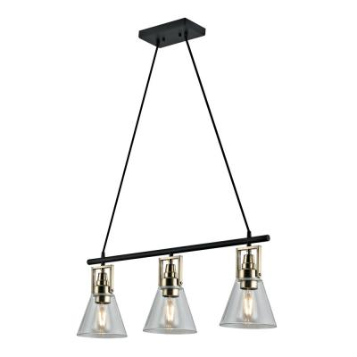 3-Light  Dark Bronze Industrial Pendant with Glass Shades