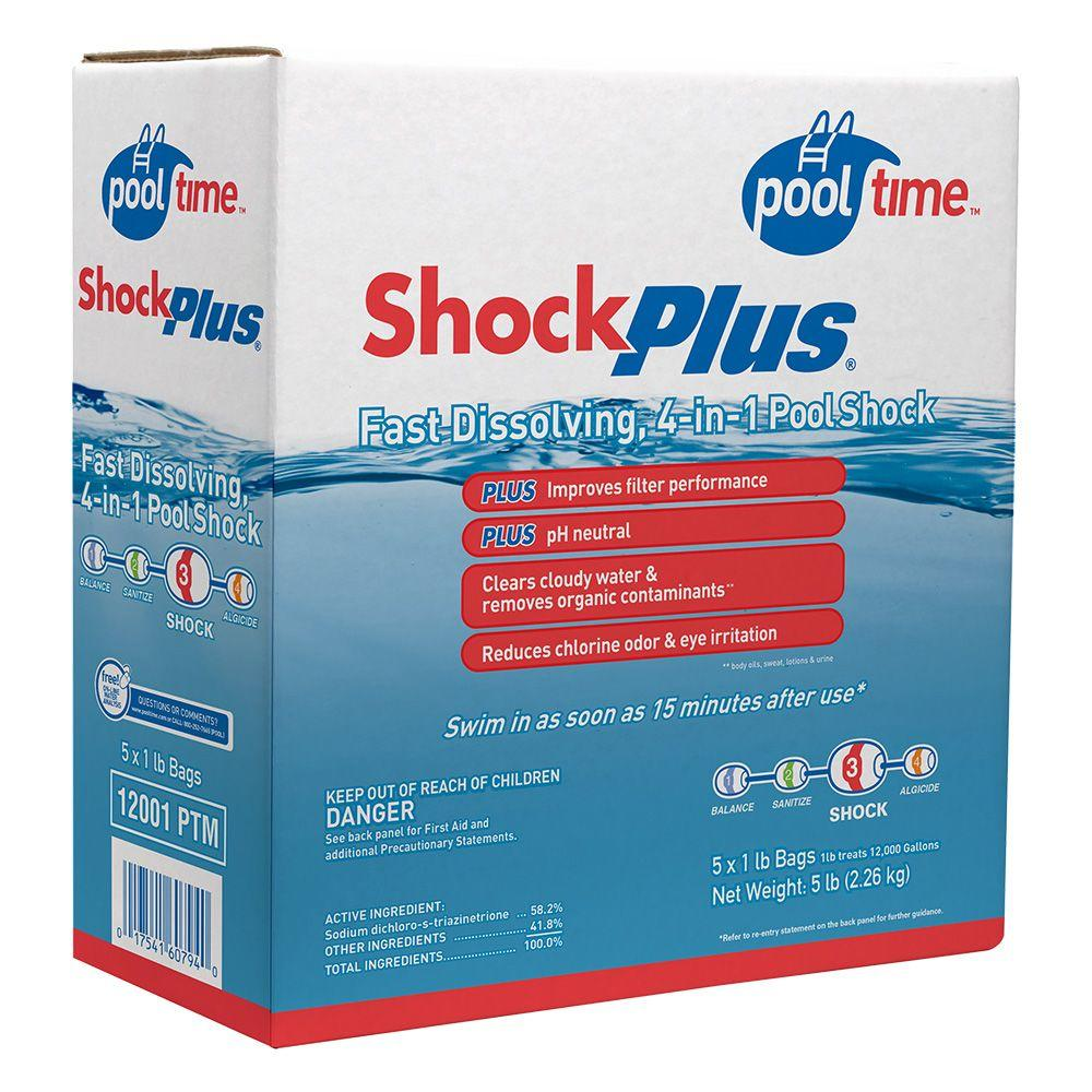 Pool Time 4 In 1 Pool Shock Plus 5 Pack 12001ptm The Home Depot