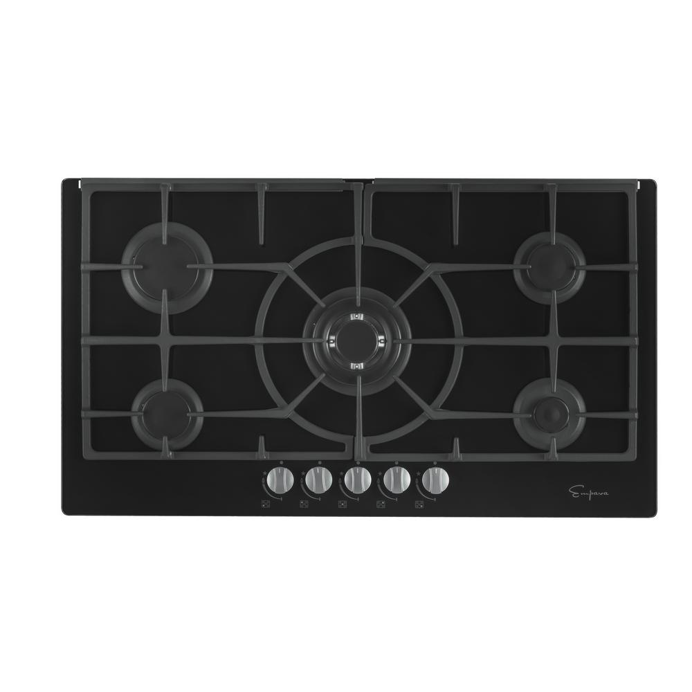 Gas Stove Top Cooktop In Black Tempered Gl With 5 Italy Sabaf Burners
