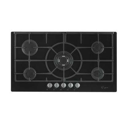 36 in. Gas Stove Top Cooktop in Black Tempered Glass with 5 Italy Sabaf Burners