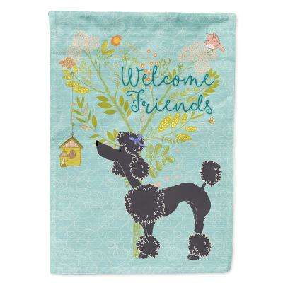 Caroline S Treasures 11 In X 15 1 2 In Polyester Welcome Friends Black Poodle 2 Sided 2 Ply Garden Flag Bb7615gf The Home Depot