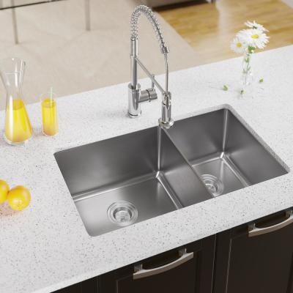 Undermount Stainless Steel 31-1/8 in. Double Bowl Kitchen Sink