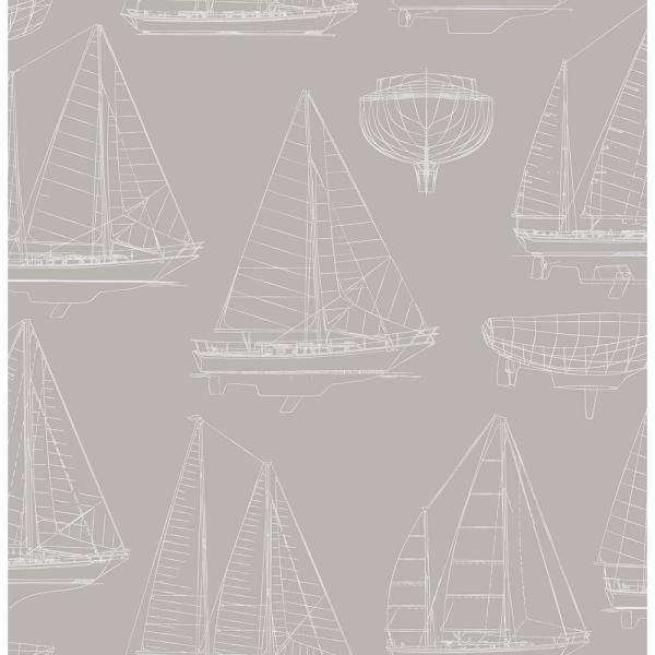 Brewster 56.4 sq. ft. Boone Grey Shipyard Wallpaper HN002642