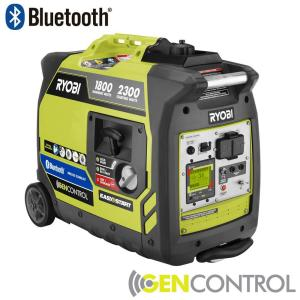 Ryobi Bluetooth 2,300-Watt Super Quiet Gasoline Powered Digital Inverter Generator-RYI2300BTA ...
