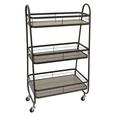 19.5 in. x 11.5 in. x 34.25 in. Wood/Metal Cart On Wheels in Gray