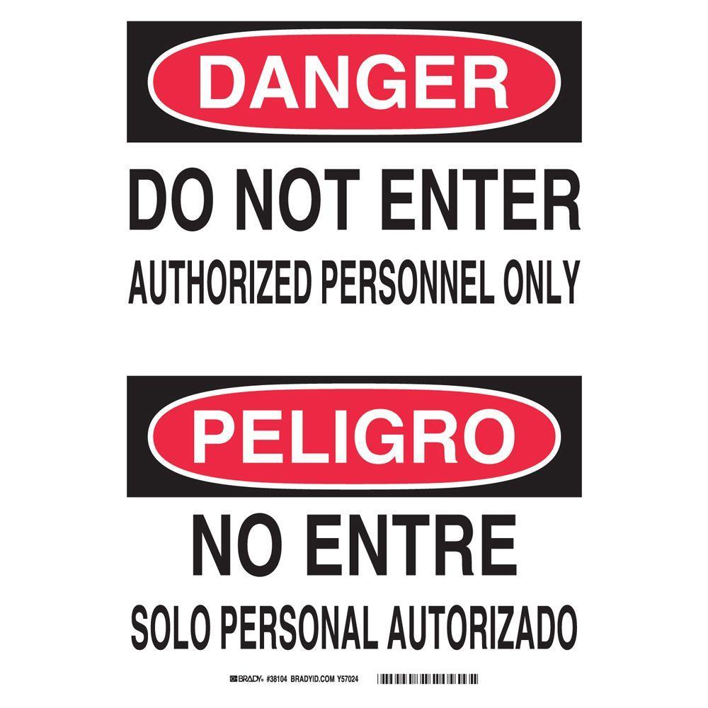 Brady 14 In X 10 In Plastic Danger Do Not Enter