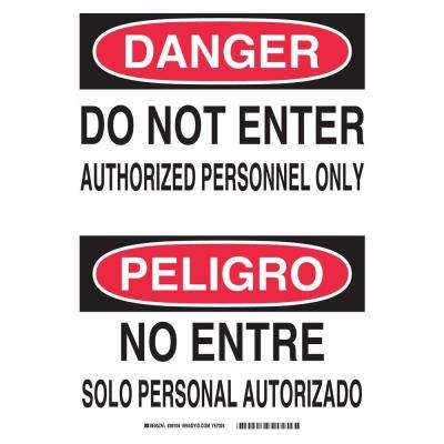 14 in. x 10 in. Plastic Danger Do Not Enter Authorized Personnel Only English/Spanish OSHA Sign